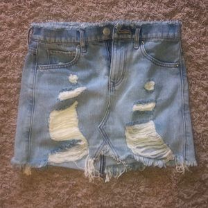 Destroyed jean skirt